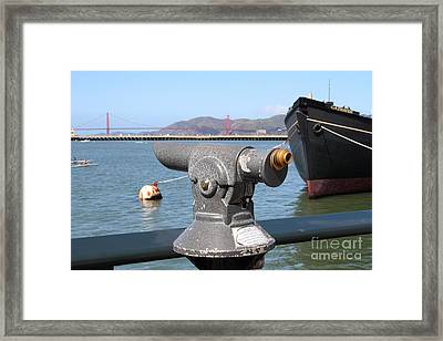 Coin Operated Telescope On The Hyde Street Pier Looking Out To The San Francisco Golden Gate Bridge  Framed Print