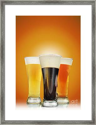 Cold Alcohol Beer Drinks On Gold Framed Print by Angela Waye