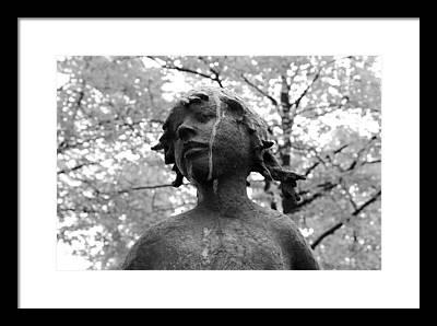 Girl Child Statue Black White Monochrome Tree Trees Expressionism Framed Prints