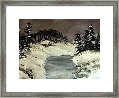 Framed Print featuring the painting Cold Out There by Everette McMahan jr