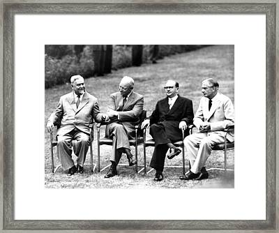 Cold War Summit Meeting Of The Big Four Framed Print