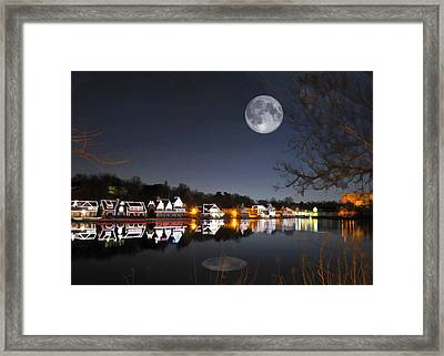 Cold Winter's Night On Boathouse Row Framed Print by Elaine Plesser