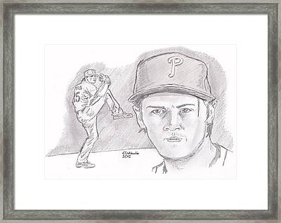 Framed Print featuring the drawing Cole Hamels by Chris  DelVecchio