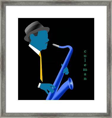 Coleman Hawkins Blue Framed Print by Victor Bailey