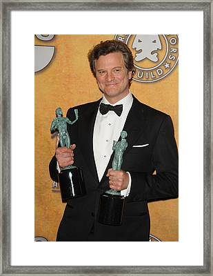 Colin Firth In The Press Room For 17th Framed Print by Everett