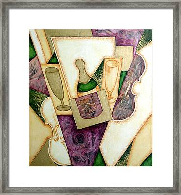 Collage Champagne Framed Print by Olga Madzhar