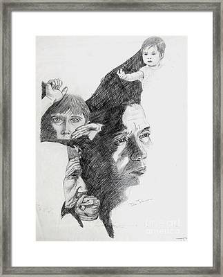 Collage Of Faces Framed Print