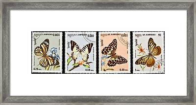 Collection Of Butterflies Stamps. Framed Print by Fernando Barozza