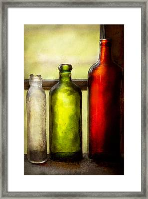 Collector - Bottles - Still Life Of Three Bottles  Framed Print by Mike Savad