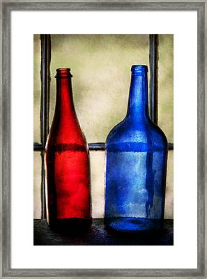 Collector - Bottles - Two Empty Wine Bottles  Framed Print by Mike Savad