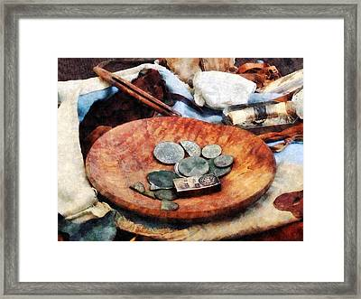 Colonial Coins Framed Print by Susan Savad