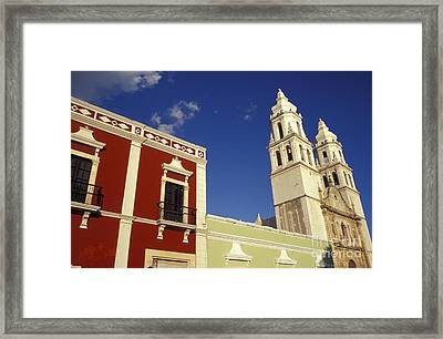 Framed Print featuring the photograph Colonial Colors Campeche Mexico by John  Mitchell