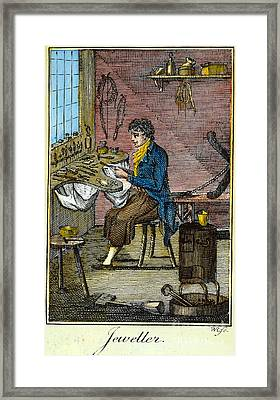 Colonial Jeweller, 18th C Framed Print by Granger