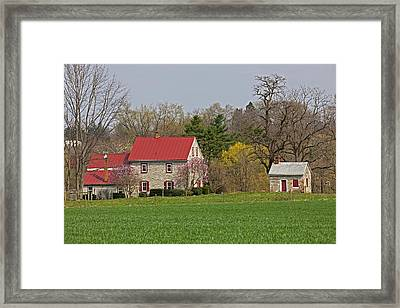 Colonial Limestone Farmhouse And Summer Kitchen Spring Framed Print by John Stephens