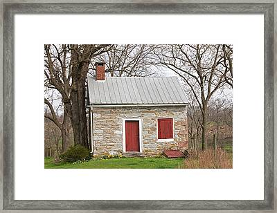 Colonial Limestone Summer Kitchen In Spring Framed Print by John Stephens