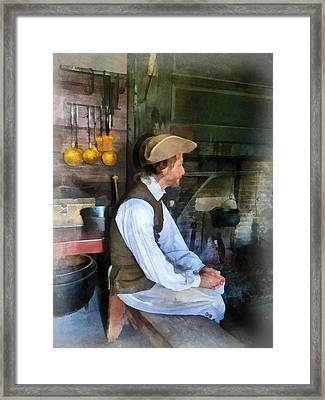 Colonial Man In Kitchen Framed Print by Susan Savad