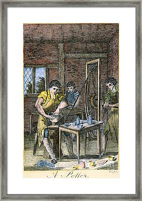 Colonial Potter, 18th C Framed Print by Granger