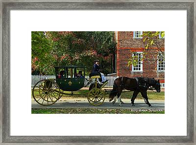 Colonial Williamsburg Carriage Framed Print by Anna Sullivan