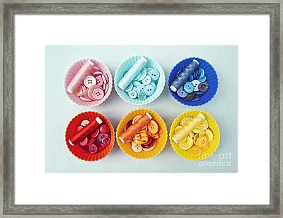 Color Filled Cupcake Cases Framed Print by Catherine MacBride
