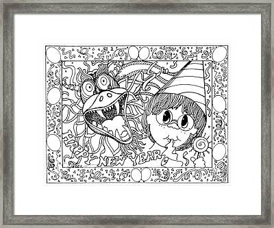 Color Me Card - New Years Framed Print