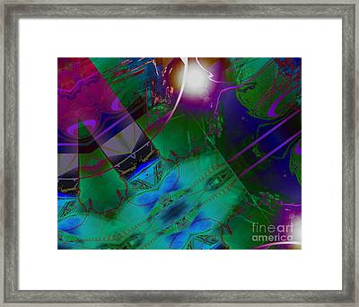 Color Modules Green-blue-lila Framed Print