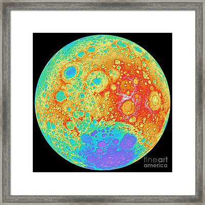 Color Shaded Relief Of The Lunar Framed Print