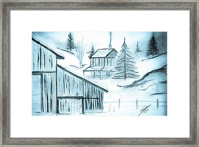 Framed Print featuring the drawing Colorado Farm by Shannon Harrington