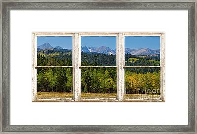 Colorado Indian Peaks Autumn Rustic Window View Framed Print by James BO  Insogna