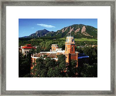 Colorado Old Main And Flatirons Framed Print by University of Colorado
