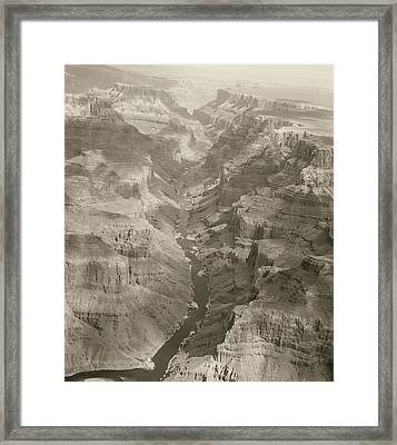 Colorado River And Grand Canyon In Monochrome Framed Print by M K  Miller