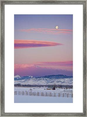 Colorado Winter Moon And Sunrise Framed Print by James BO  Insogna