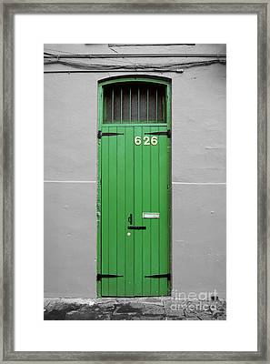 Colorful Arched Doorway French Quarter New Orleans Color Splash Black And White Framed Print