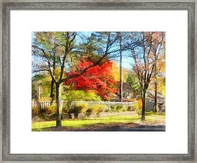 Colorful Autumn Street Framed Print by Susan Savad