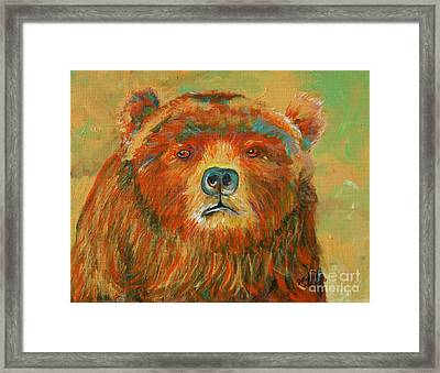 Framed Print featuring the painting Colorful Bear by Jeanne Forsythe