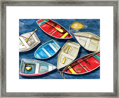 Framed Print featuring the painting Colorful Boats by Anne Beverley-Stamps