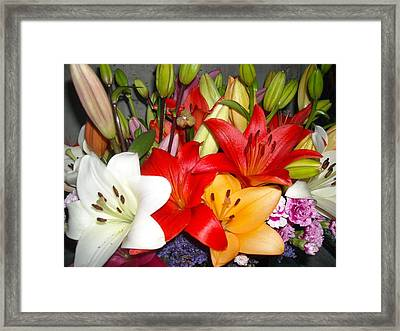 Colorful Bouquet Of Lilies - Lilium Framed Print by Liliana Ducoure