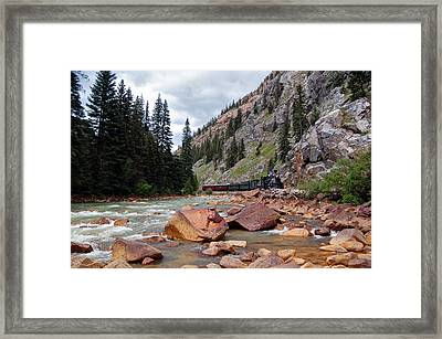 Colorful Canyon Train Framed Print by Ken Smith