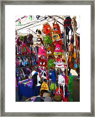 Colorful Character Hats Framed Print by Kym Backland