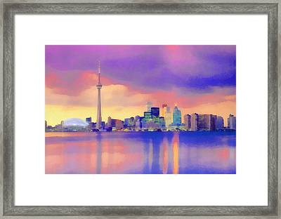 Framed Print featuring the digital art Colorful City Scape by Walter Colvin