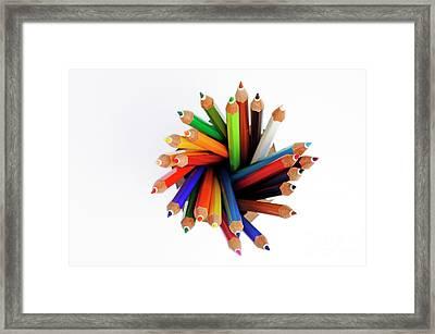 Colorful Crayons In Jar Framed Print by Sami Sarkis