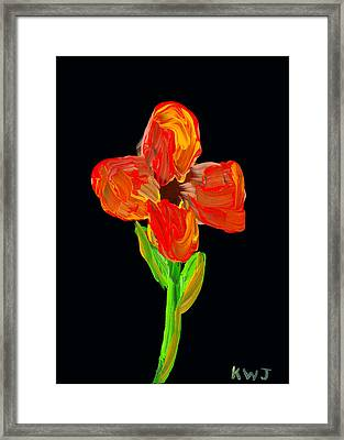 Colorful Flower Painting On Black Background Framed Print by Keith Webber Jr