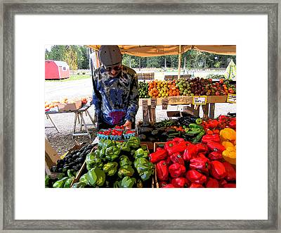 Colorful Fruit And Veggie Stand Framed Print by Kym Backland