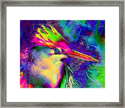 Colorful Heron Framed Print by Doris Wood