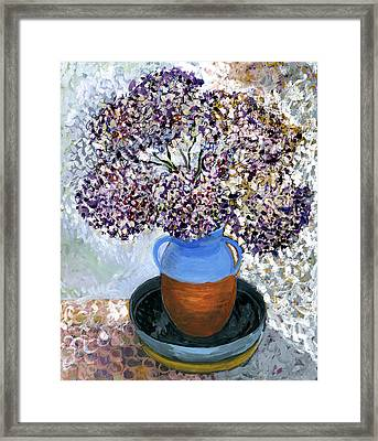 Colorful Impression Of Purple Flowers In Blue Brown Ceramic Vase Yellow Plate With Green Branches  Framed Print by Rachel Hershkovitz