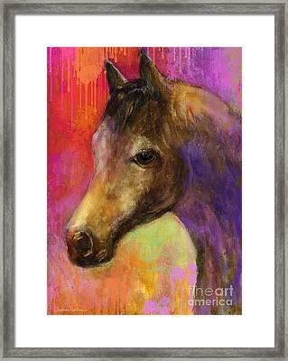 Colorful Impressionistic Pensive Horse Painting Print Framed Print by Svetlana Novikova