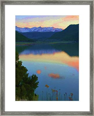 Colorful Lake Sunset Framed Print