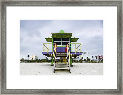 Colorful Lifeguard Station Framed Print by Jeremy Woodhouse