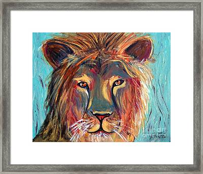 Framed Print featuring the painting Colorful Lion by Jeanne Forsythe