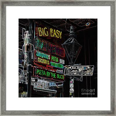 Colorful Neon Sign On Bourbon Street Corner French Quarter New Orleans Glowing Edges Digital Art Framed Print