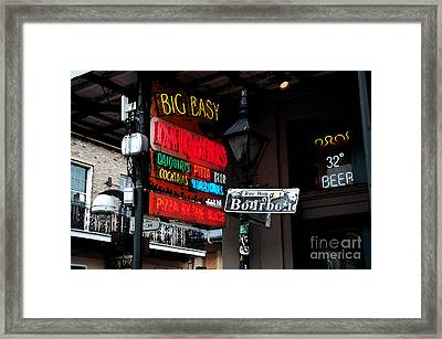 Colorful Neon Sign On Bourbon Street Corner French Quarter New Orleans Watercolor Digital Art Framed Print